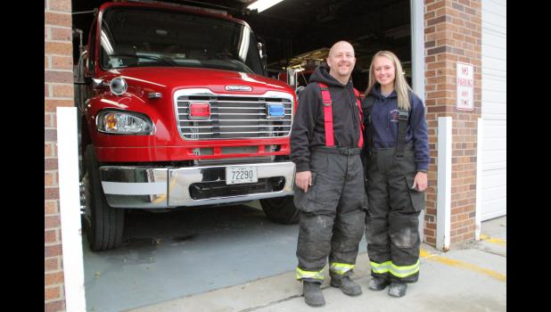 """Sometimes, I think he makes her work a little harder,"" former Jefferson fire chief Eldon Cunningham says of fire captain Sean Schiltz (left) and his daughter, Sydney, who joined him on the Jefferson Fire Department this year. ANDREW McGINN 