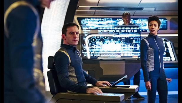 "Jason Isaacs (left) stars as Capt. Gabriel Lorca, and Sonequa Martin-Green is First Officer Michael Burnham on ""Star Trek: Discovery,"" the flagship program of CBS All Access, the network's subscription streaming service. JAN THIJS 