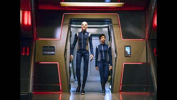 "Lt. Saru (left) on ""Star Trek: Discovery"" is from a new alien species known as Kelpiens that can genetically sense threats. Season one of the series debuted Sept. 24 on CBS All Access and will air in two chapters, with the final episode of chapter one airing Nov. 12. The series resumes in January. JAN THIJS 