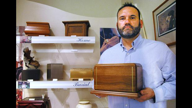 Responding to trends in the funeral industry, local funeral director Aaron Schroeder is about to construct his own crematory on land near the Super 8. Although the Slininger-Schroeder Funeral Home offers cremation and a selection of urns, cremations currently have to be outsourced to a funeral home in Ames. ANDREW McGINN | JEFFERSON HERALD PHOTOS