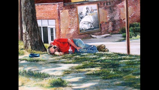 Working in pastel, Burgess brings a journalist's eye to his work. In Kansas City, he spotted a homeless man named Frenchy taking a nap on a hot summer day after drinking liquor all morning. Behind him is a billboard for liquor.