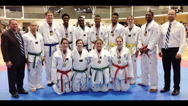 Cody Smith (third from left in back) is pictured in 2016 with his Iowa Central Community College taekwondo teammates. Coach Justin Faiferlick is pictured at far left. That season, the ICCC team tied for third nationally with MIT, behind only West Point and Brown University. CONTRIBUTED PHOTO