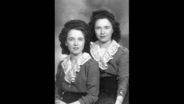 Madeline (right) had a twin sister, Marjorie, but Bob never had difficulty telling them apart.
