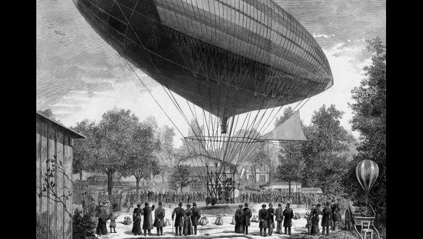 "Newspapers in April 1897 called the nimble craft that crashed north of Jefferson an ""airship,"" but dirigible balloons were still highly experimental, as shown in this 1883 image of a French airship powered by an electric motor. And they were slow."
