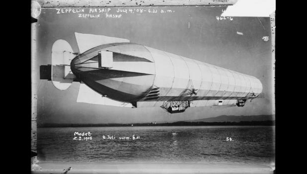 Well, it looks alien enough: A Zeppelin airship, pictured in 1908.