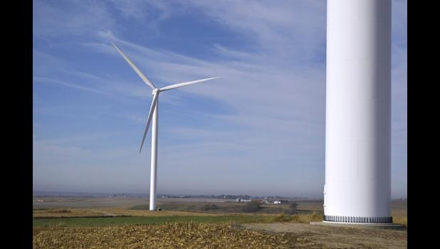 Constructed a decade ago by local landowners, the Hardin Hilltop Wind Farm was the first wind farm in Greene County. At the end of 2016, the county was home to 32 wind turbines. By this time next year, there will be 158. HERALD FILE PHOTO
