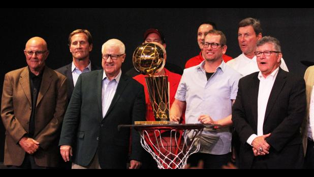 "Toronto Raptors head coach (middle) is joined by a large crew of local celebrities, including ""Voice of the Hawkeyes"" Gary Dolphin, Jerry Crawford, Bobby Hansen and Kevin Lehman following a welcome home celebration Sunday, June 30 in Jefferson. BRANDON HURLEY 