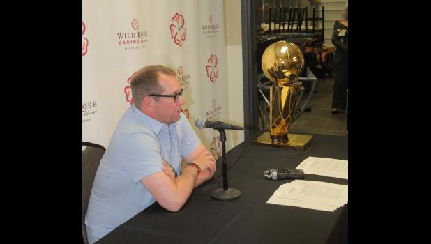Toronto Raptors head coach and Carroll native Nick Nurse sits next to the NBA championship trophy as he fields questions during a press conference Sunday, June 30 prior to a welcome home celebration in Jefferson.  BRANDON HURLEY | JEFFERSON HERALD