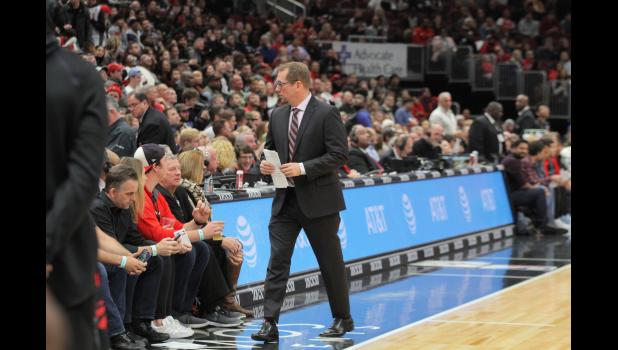 Toronto Raptors head coach Nick Nurse walks the sideline during a Nov. 17 game in Chicago. The Kuemper Catholic grad has led the Raptors to a 14-4 record a month into his first year as the lead man. BRANDON HURLEY | DAILY TIMES HERALD