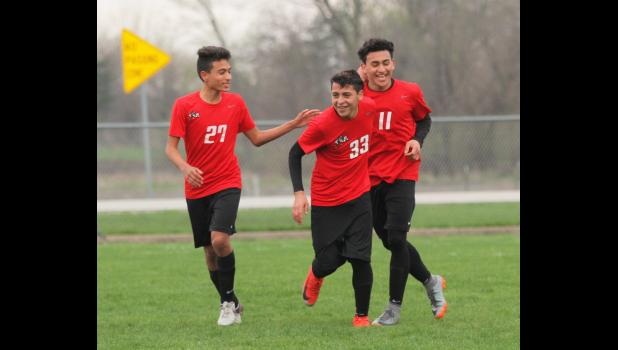 Greene County athletes should have been enjoying a record-setting spring, not dwelling over what could have been due to the COVID-19 outbreak. Seen here are Greene County soccer team members Luis Velazco (27), Maynor Caballo (33) and Iowa's 2019 leading scorer, Junior Gutierrez.  JEFFERSON HERALD FILE PHOTO