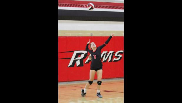 Greene County senior Aubrey Heupel ranked sixth in the HOIC last year in both total assists and aces per set. The Rams opened the 2019 schedule with a triangular sweep Aug. 27. BRANDON HURLEY | JEFFERSON HERALD
