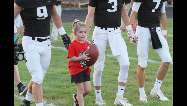 Five year old Avril Shahan was the Greene County honorary captain prior to a home game against Gilbert. The kindergartener has battled lymphoblastic leukemia for two years. She finished her final round of chemo therapy in October. BRANDON HURLEY | JEFFERSON HERALD