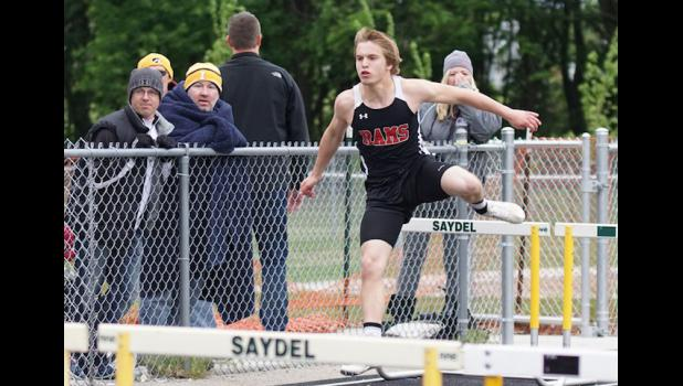 Tyler Beger anchored the boys shuttle hurdle relay team that was third at the Heart of Iowa Conference track meet.