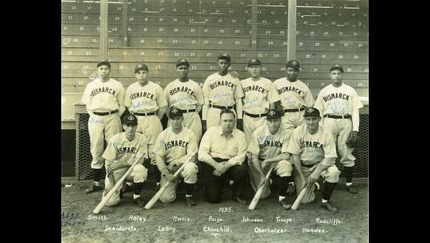 """A 1935 photo of the Bismarck, North Dakota semi-pro team, including Negro Leaguers Satchel Paige, Hilton Smith, Barney Morris, Quincy Troupe and Ted """"Double Duty"""" Radcliffe. Jefferson native Bill Morlan is not pictured. He broke his arm in June prior to the national tournament in Wichita, Kansas.  PROPERTY OF THE NEGRO LEAGUE MUSEUM"""