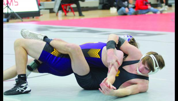 The Greene County wrestling team finished second at the 2021 HOIC tournament Jan. 22 in Jefferson. Nate Black (right) finished runner-up at 152 pounds, one of Greene County's four sivler medals.  BRANDON HURLEY | JEFFERSON HERALD