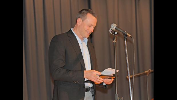 Jefferson-Scranton graduate Brent MacLagan was inducted into the Greene County High School athletics hall of fame Jan. 16 in Jefferson. The former Ram starred in both football track and field.  BRANDON HURLEY | JEFFERSON HERALD