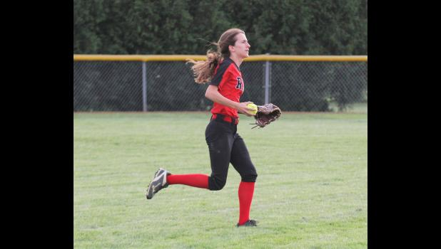Greene County senior Megan Carey was named third team all state by the IGCA following the 2019 season. The Ram centerfielder batted a team-best .406.  BRANDON HURLEY | JEFFERSON HERALD