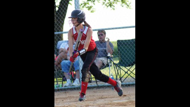 Carleigh  Paup squares to bunt in the Ram's  6-1 victory over South Hamilton on June 5. Paup scored two runs on an inside the park home run in the game.