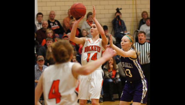 Junior Carleigh Paup is shown in the Rockets home versus Boyer Valley. Paup scored 36 points in this game and followed that with a 42 point performance on the road at Woodbine the next day. Her point totals in those two games raised her over 1000 points for her high school career.