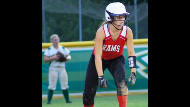 Emily Christensen gets ready to run to third on the next hit in Greene County's 8-4 softball victory over Saydel on June 16. Christensen had two of the Rams 14 hits in the game.