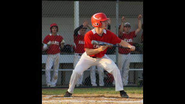 Colton Fitzpatrick squares to bunt in Greene County's game versus South Central Calhoun on July 9. Fitzpatrick ripped two singles and drove in two runs in the Ram's 8-3 victory.