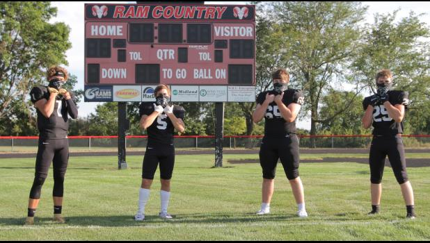Greene County veterans (from left): Jaxon Warnke, Cameron Miller, Sawyer Schiltz and Joe Davis hope to continue the success from the last two years, which saw the Rams rip off 17 wins and their first playoff victory.  BRANDON HURLEY | JEFFERSON HERALD