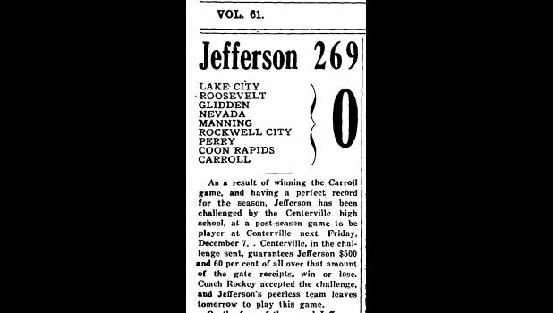 A headline in the Jefferson Bee from Dec. 5, 1928 after the Jefferson football team completed an undefeated and unscored upon regular season, a squad in which Joe Rogers played an instrumental role.  JEFFERSON HERALD ARCHIVES