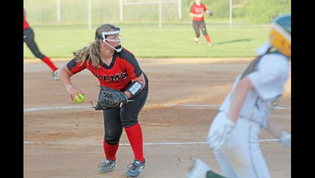 Greene County freshman Emma Hoyle was named to the Heart of Iowa Conference second team after leading the Rams in wins (4) and ranking fourth in the league in ERA (4.41) and fifth in total strikeouts (44).  JEFFERSON HERALD FILE PHOTO