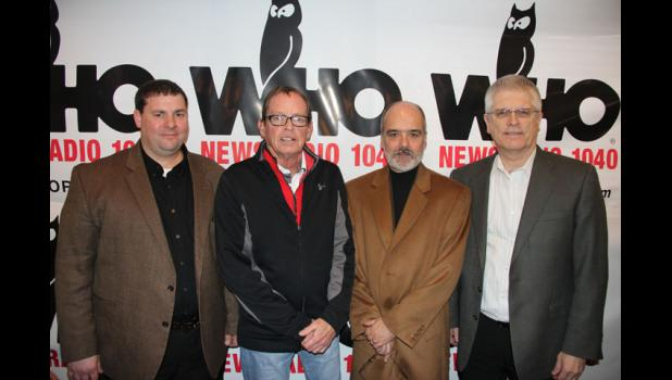 Wild Rose and WHO Radio this morning announced plans for the 21st Annual Tractor Ride this summer to be held in and around Greene County. Pictured are (from left) Travis Dvorak, Wild Rose Jefferson general manager, Jefferson Mayor Craig Berry, Joel McCrea, station manager for WHO Radio, and Tom Timmons, president and chief operation officer of the Iowa-based Wild Rose Casino & Resort organization. Wild Rose will host the tractor ride.