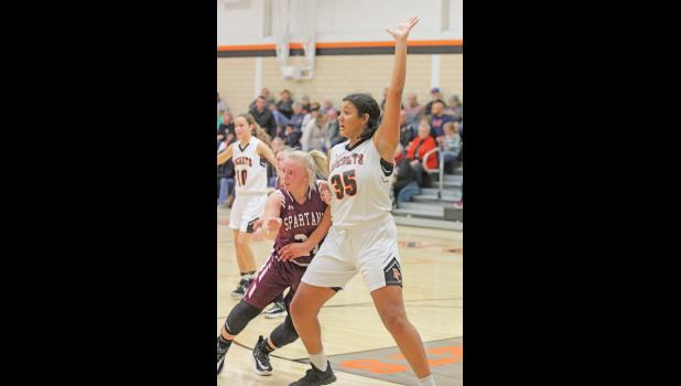 Paton-Churdan's Danielle Hoyle (35) crossed the 1,000 career point plateau in the Rockets' 19th game this season, which later earned her a third team, all-state selection by the IPSWA.  BRANDON HURLEY | JEFFERSON HERALD