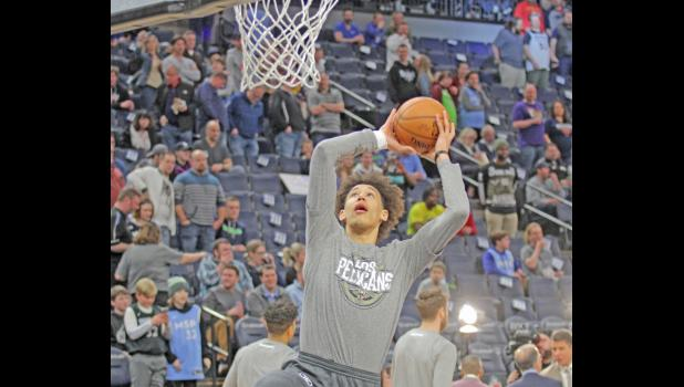 New Orleans Pelicans rookie Jaxson Hayes puts up a shot during warm ups prior to a game March 8 in Minneapolis. Hayes is the 20-year old son of Kristi Kinne Hayes, Jefferson-Scranton's all-time leading scorer and Greene County hall of famer.  BRANDON HURLEY | JEFFERSON HERALD
