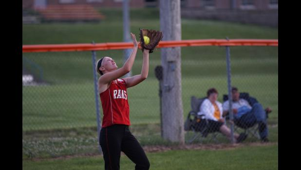 Senior Kayla Mobley had several catches in left centerfield in Greene County's game in Colfax on June 17. The Rams needed nine innings to claim the 4-3 win.