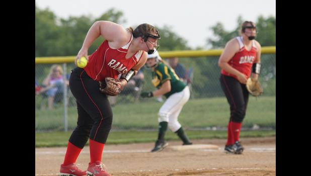 Ram senior pitcher Marissa Promes improved her pitching record to 11-0 for the season when the Rams defeated Saydel 6-2 on June 10.