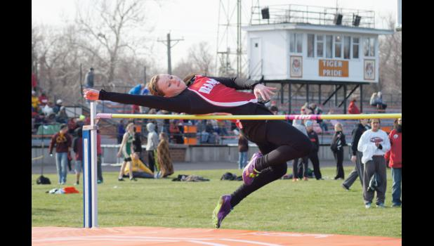 "Ram freshman Nadia Fisher won the girls high jump competition at the Carroll Coed relays on April 15. Fisher set a new personal record jumping 5' 1""."