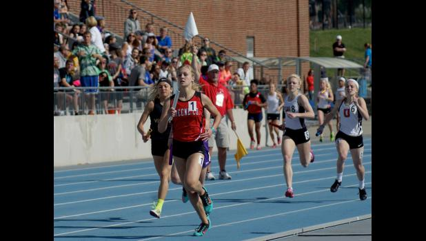 Sophomore Olivia Hansen is shown anchoring the Ram's sprint medley relay at the state track meet. The team took three seconds off of their previous best time and placed 10th in a very competitive field.