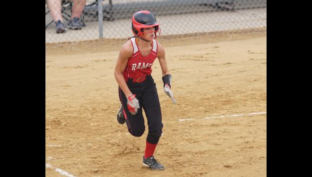 Third baseman Carleigh Paup scurries around the bases after hitting the ball to the fence in the team's game versus Nevada on July 6. Paup drove in three runs with two singles and a triple.