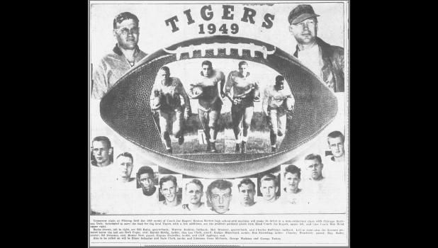 Jefferson High graduate Joe Rogers (pictured, upper left) is depicted in a 1949 season preview for the Benton Harbor, Michigan high school football team.  COURTESY OF THE NEWS-PALLADIUM