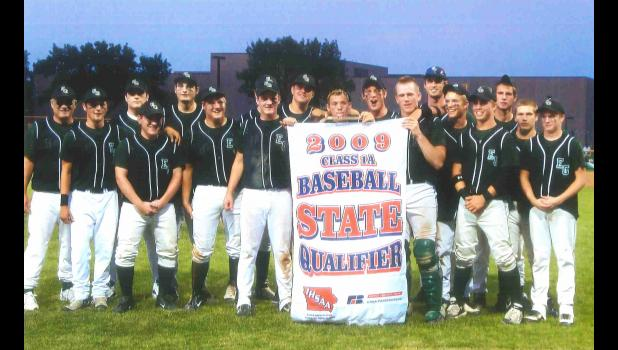 The 2009 East Greene baseball team celebrates with their state qualifier banner following a win over Grand View Park Baptist in the substate final. The victory remains the first - and only - baseball state tournament appearance in school history.  PHOTO SUBMITTED