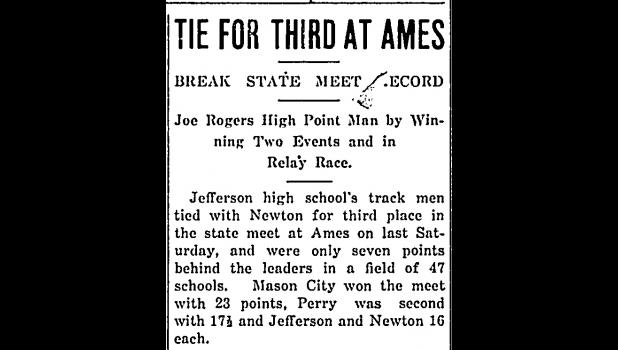 A Jefferson Bee headline from 1930 celebrating Jefferson and track star Joe Rogers' accomplishments at that year's state track meet.