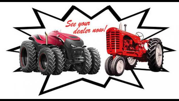 Case IH in 2016 unveiled an autonomous (that is, driverless) concept tractor (left). In one lifetime, Cec Rueter has seen farm technology progress from horses to this. Rueter first opened a Massey-Harris dealership in 1951.