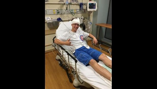 A Chicago doctor used five staples to close the wound on Kyle McAleer's head after a pipe fell on him at Wrigley Field last week.