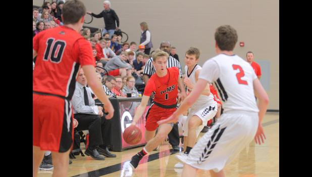 Greene County's Trey Hinote (1) enters his senior season needing just 18 threes to break the all-time school three-point record of 196. The sweet-shooting guard set the single-season record last winter with 71 long balls.  JEFFERSON HERALD FILE PHOTO
