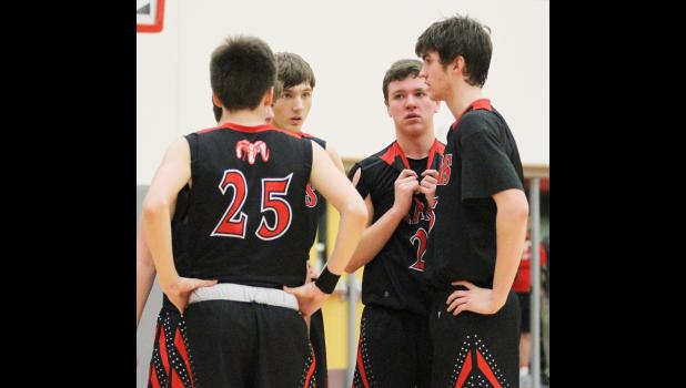 Former Greene County Ram Calvin Skalla (middle) is a member of the University of Iowa women's scout team. He's seen here during his senior season in Jefferson in 2017. JEFFERSON HERALD FILE PHOTO