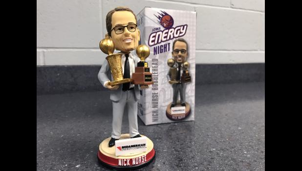 Carroll native Nick Nurse led the Toronto Raptors to the 2019 NBA championship over the summer. The former Kuemper Catholic night and Iowa Energy coach was honored with a bobble head during the Nov. 15 Iowa Wolves game.  BRANDON HURLEY | TIMES HERALD