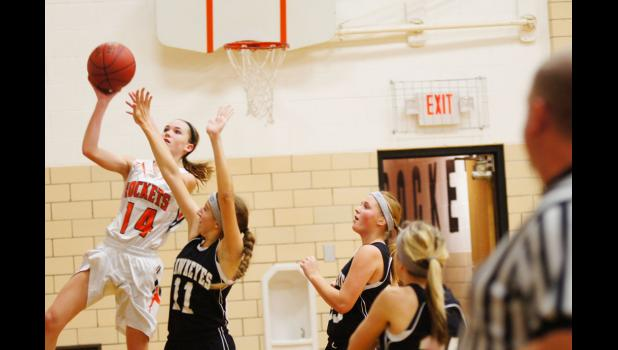 Sophomore Carleigh Paup goes up for two of her 32 points that she scored in the Rockets 63-35 win over West Harrison on Dec. 20. Paup is averaging well over 20 points per game for the 5-2 Rockets.