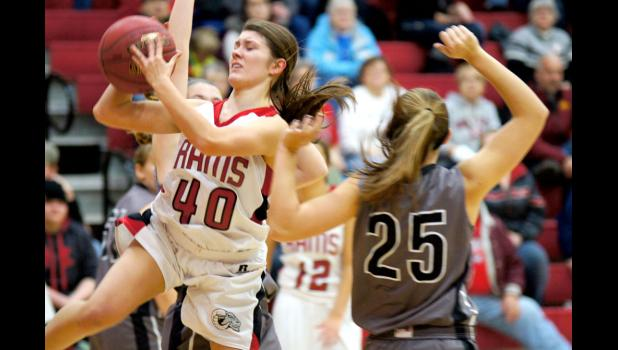 Junior Jolee Wessling drives in for a basket in the Rams victory over CMB. Greene County now has a 4-1 record in Heart of Iowa conference play. Wessling was one of the Rams leading rebounders in the contest.