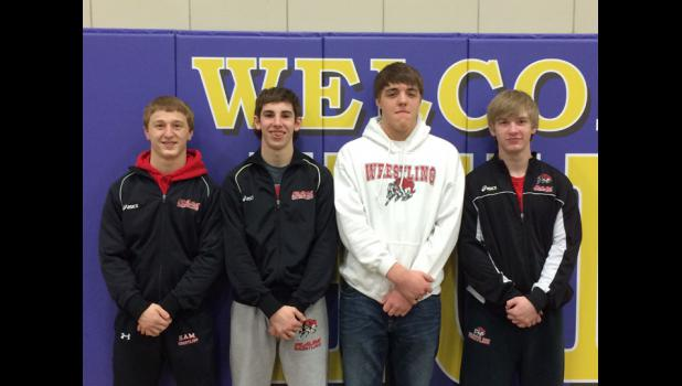 Ram District Wrestling Qualifiers (l. to r.) Jordan Challen, Abe    Yoder, Hunter Ruth, Tommy Bradshaw.