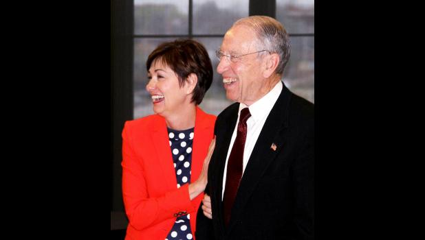 Gov. Kim Reynolds and U.S. Sen. Charles Grassley helped Jefferson celebrate the expansion of Pillar Technology into Greene County during a festive event in downtown Des Moines May 2. (Photo By Douglas Burns)