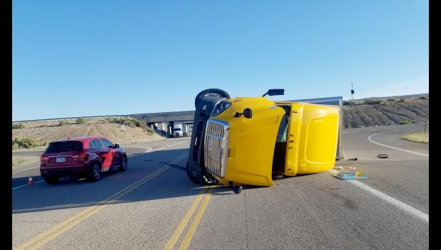 KYLE THOMPSON | SPECIAL TO THE TIMES HERALD This semitrailer truck overturned in Utah when its driver was unable to make a turn. Scranton resident Kyle Thompson was there for a Union Pacific job and assisted the injured driver.