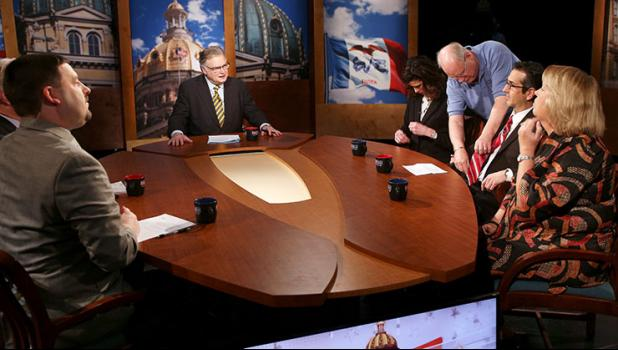 "ANNIE MEHL | DAILY TIMES HERALD ""Iowa Press"" hosts David Yepsen (center) talks with guests (from left) James Lynch, Erin Murphy, Mary Neubauer, Joel Fruy and Peggy Huppert before the taping of the April 27 edition, which centered on mental health issues in Iowa. Yepsen and the guests talked about the state's ""broken"" mental health system, what can be done to fix it and Gov. Kim Reynolds' recent executive order aimed at improving care for children with mental health disorders."